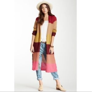 Free People Long Striped Cardigan Duster NWT